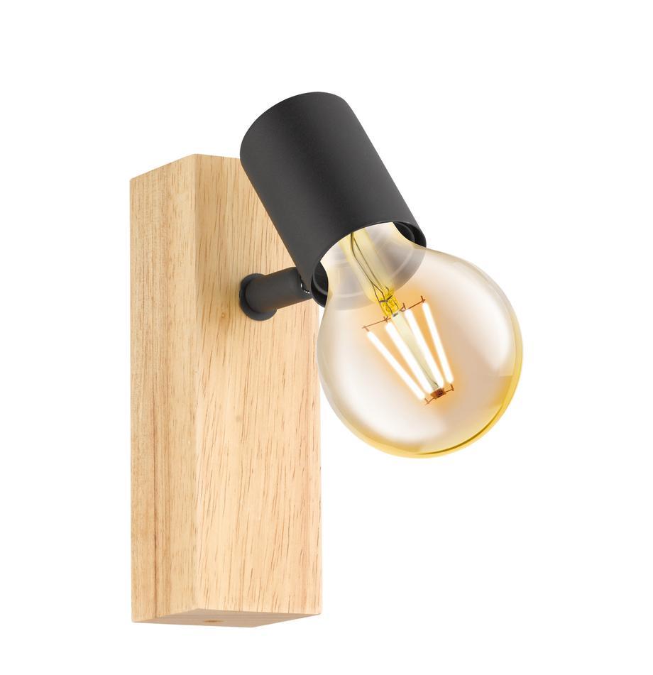 Aplique de madera Townshend, Fijación: madera, Negro, madera, An 5 x Al 17 cm