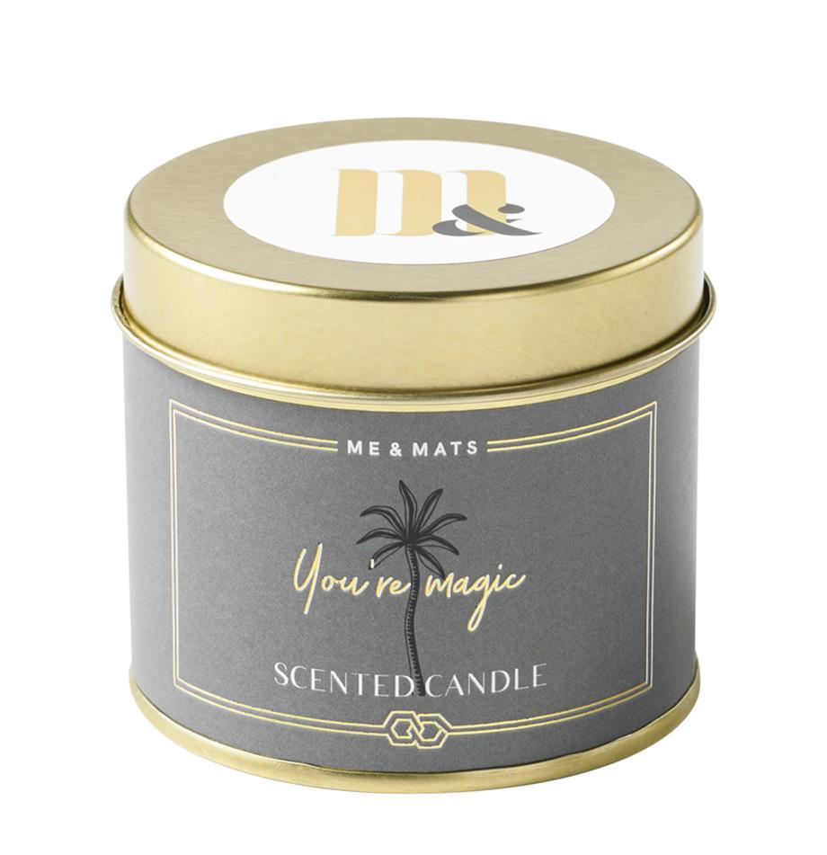 Vela perfumada You're Magic (pomelo, pachulí & sandía), Recipiente: metal, recubierto, Dorado, gris verdoso, negro, blanco, Ø 8 x Al 7 cm