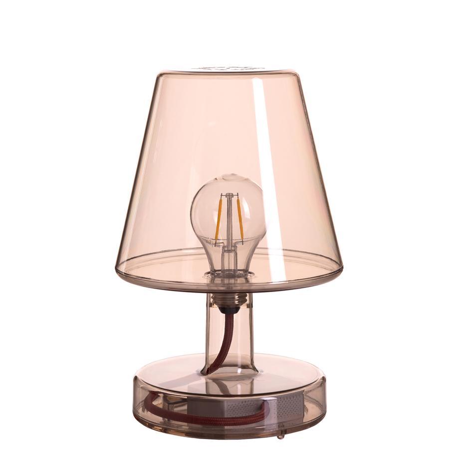 Mobile LED-Tischleuchte Transloetje, Kunststoff, Braun, transparent, Ø 17 x H 27 cm