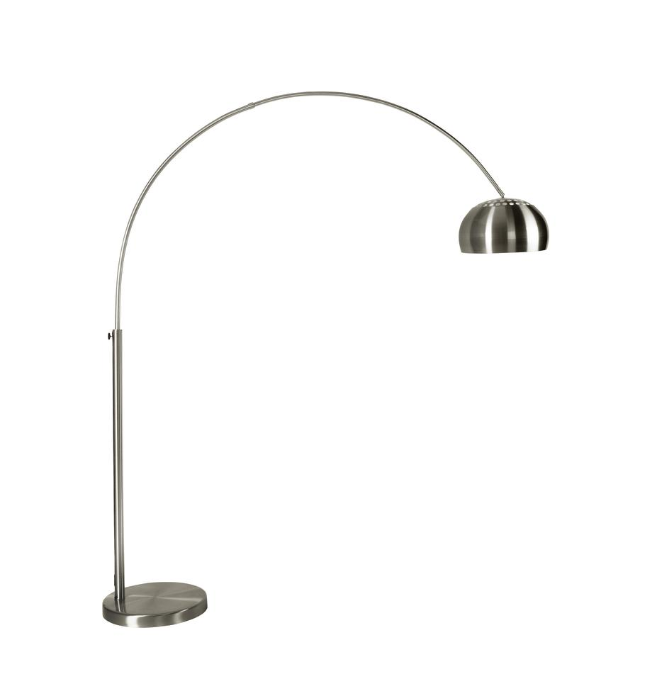 Grosse Bogenlampe Metal Bow in Silber, Lampenschirm: Metall, gebürstet, Gestell: Metall, gebürstet, Metall, 170 x 205 cm