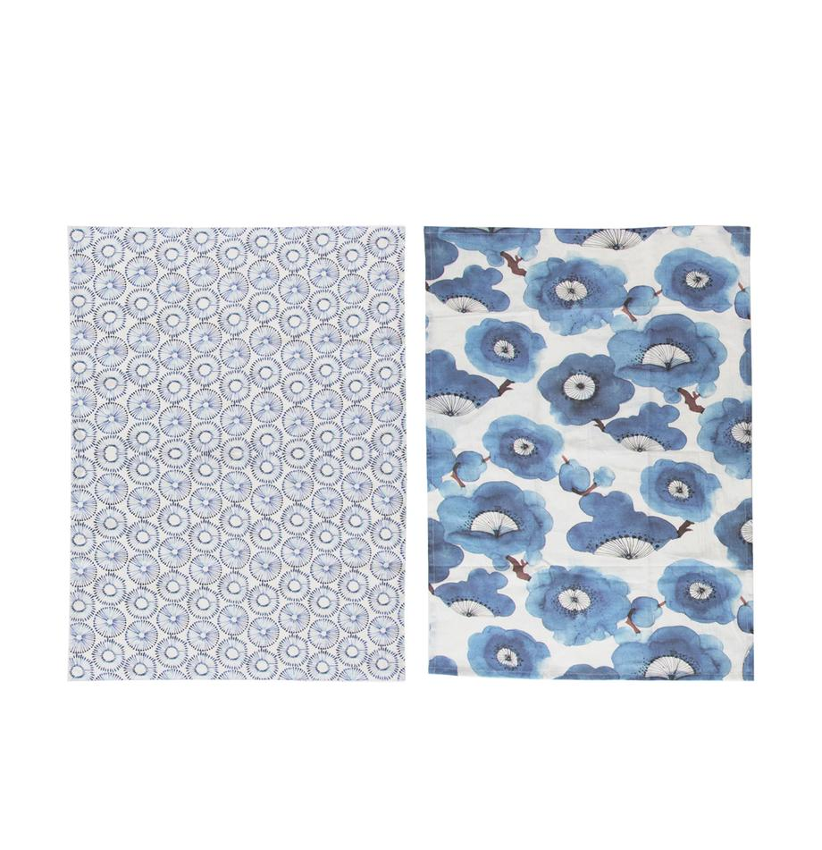 Paños de cocina Dandelion, 2uds., Algodón, Blanco, azul, An 50 x L 70 cm