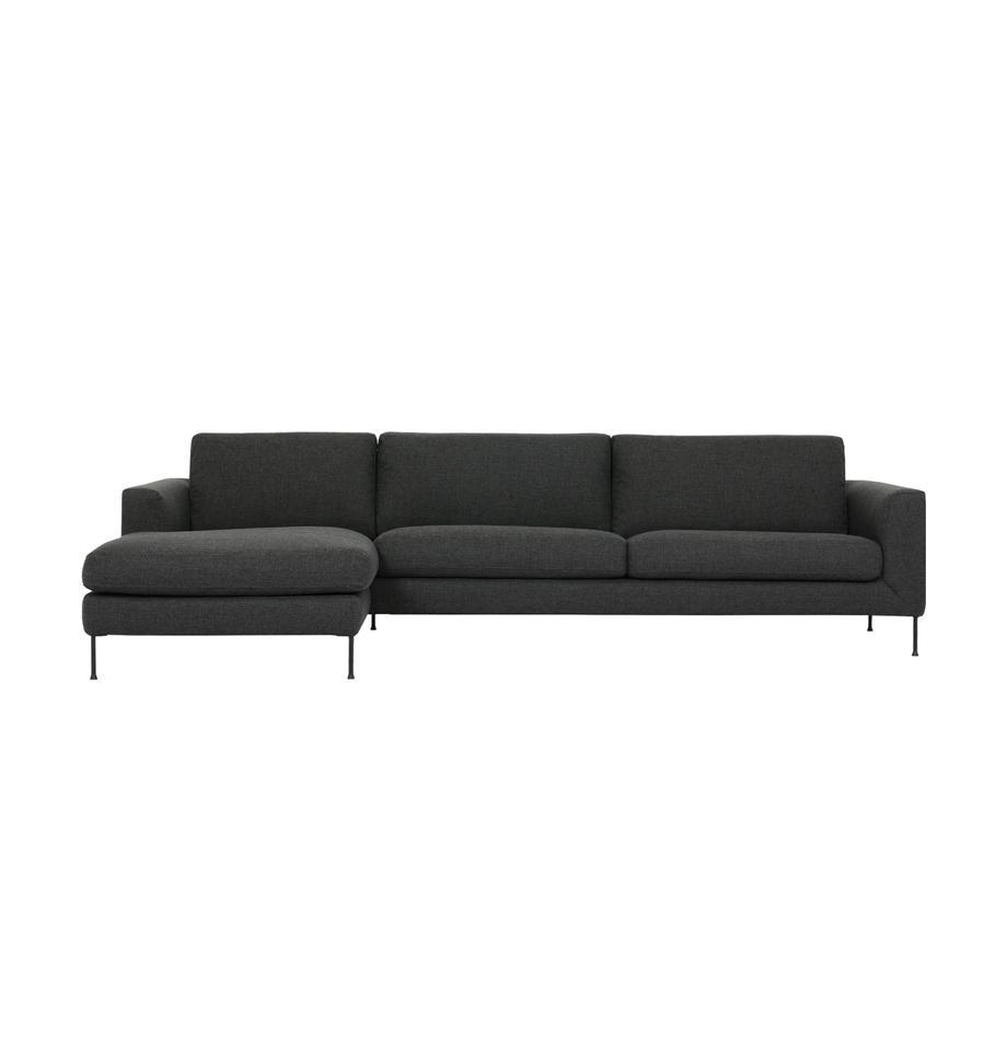 Ecksofa Cucita (4-Sitzer) in Anthrazit mit Metall-Füssen, Bezug: Webstoff (Polyester) Der , Gestell: Massives Kiefernholz, Webstoff Anthrazit, B 302 x T 163 cm