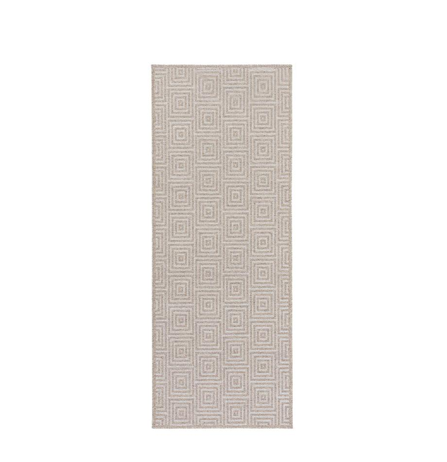 Wollen loper Jacob met grafisch patroon, 70% wol, 30% viscose, Lichtgrijs, beige, 80 x 200 cm