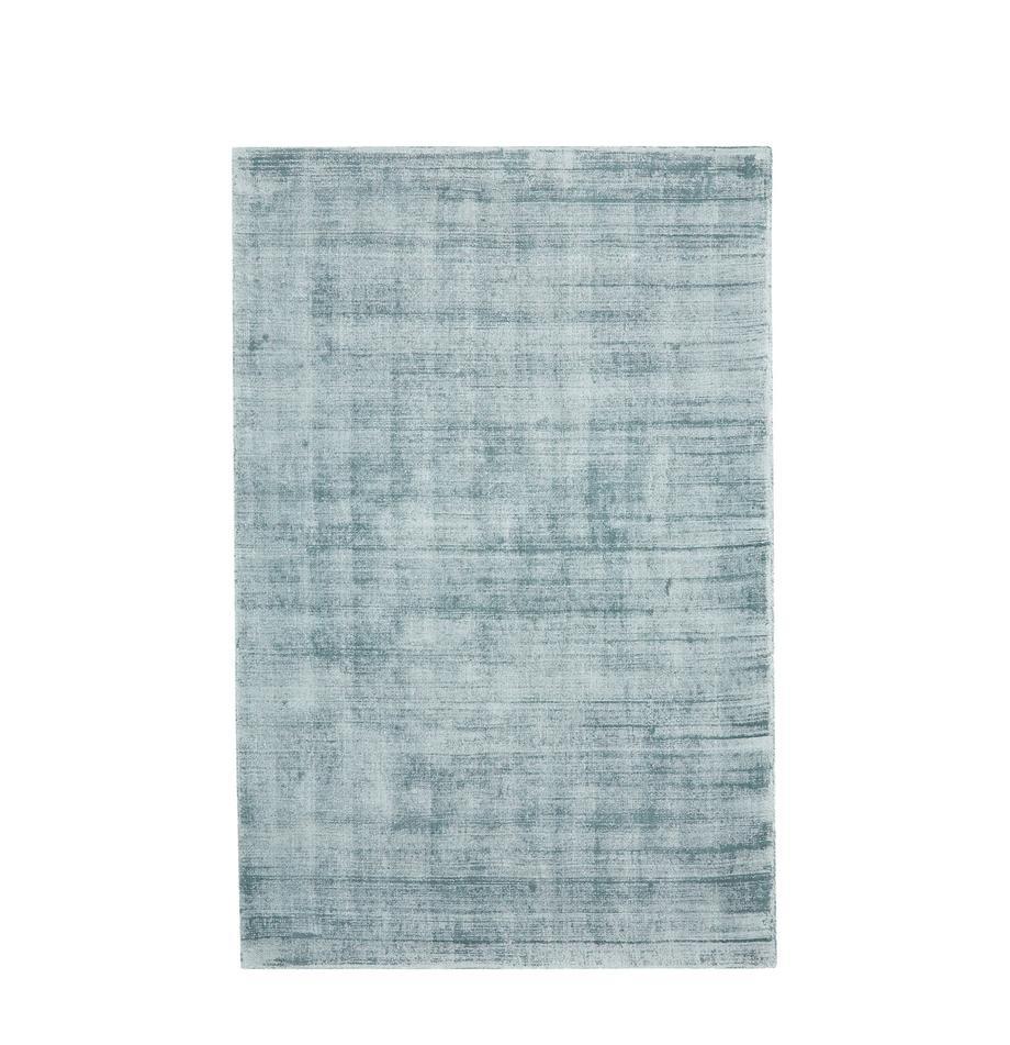 Tappeto in viscosa tessuto a mano Jane, Retro: 100% cotone, Blu ghiaccio, Larg. 120 x Lung. 180 cm (taglia S)