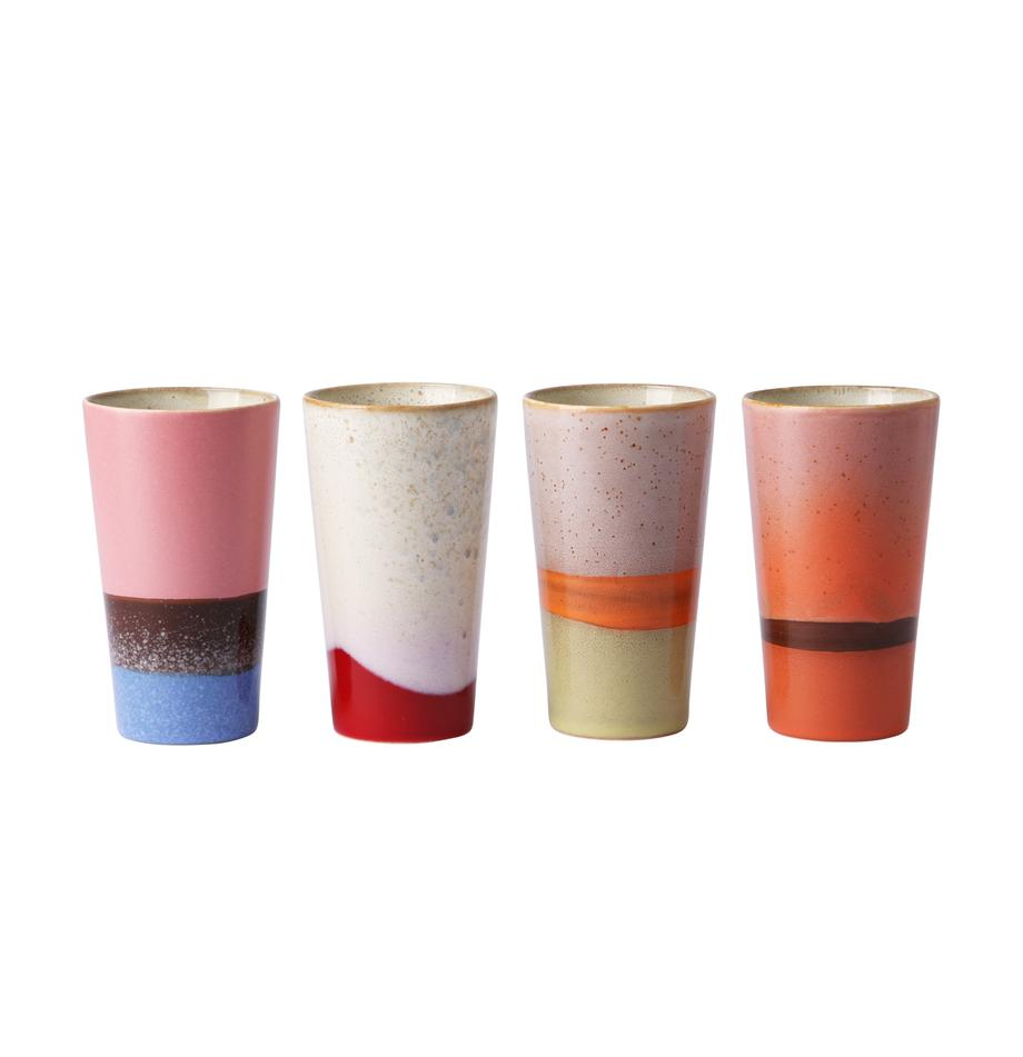 Set 4 tazze senza manico fatte a mano 70's, Ceramica, Multicolore, Ø 8 x Alt. 13 cm