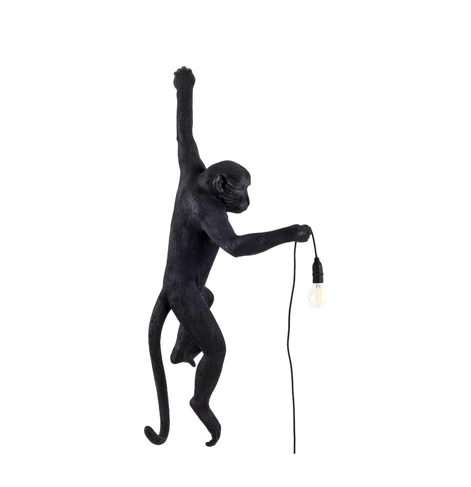 Design Außenwandleuchte Monkey mit Stecker, Leuchte: Kunstharz, Schwarz, 77 x 37 cm