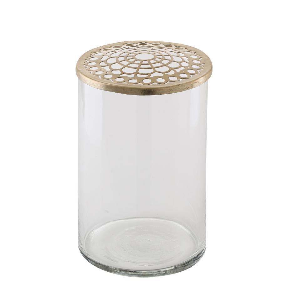 Vaso con coperchio in ottone Kassandra, Vaso: vetro, Coperchio: acciaio inossidabile otto, Vaso: trasparente Coperchio: ottone, Ø 10 x Alt. 16 cm