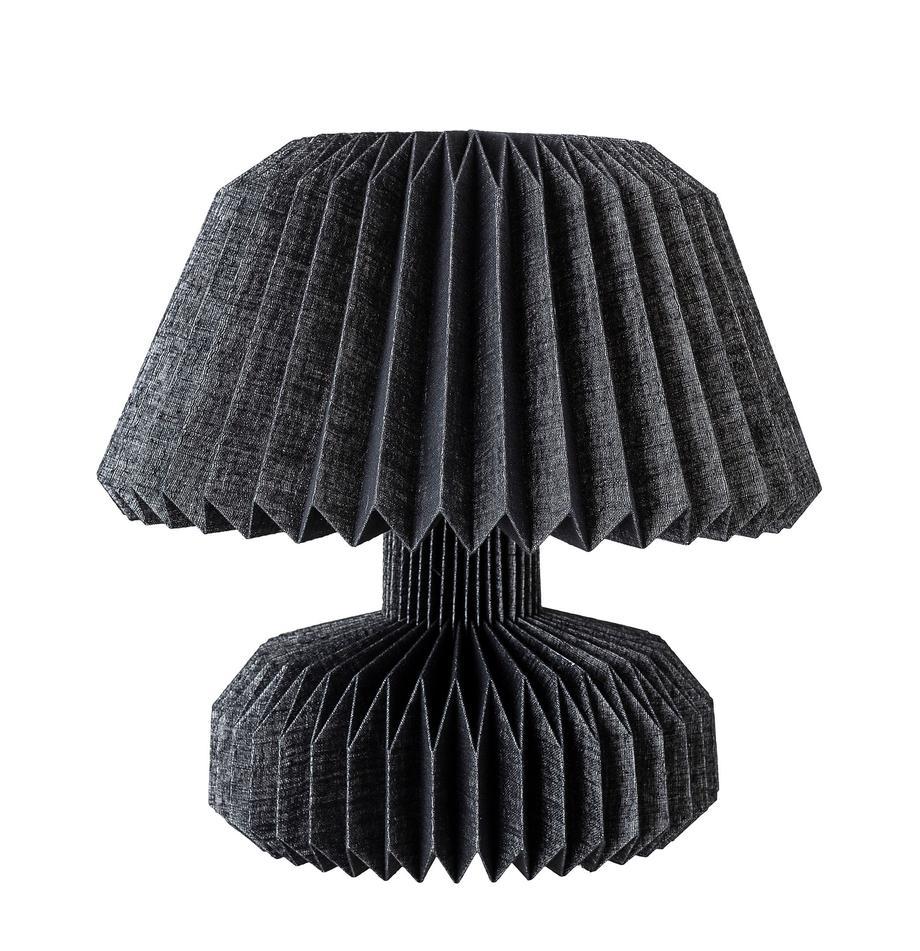 Lámpara de mesa Janik, Lámpara: papel, Cable: cubierto en tela, Negro, Ø 37 x Al 36 cm