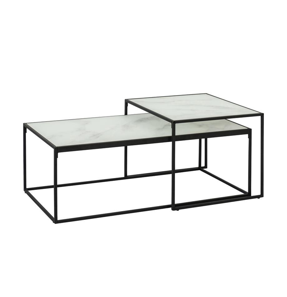 Bijzettafelset Bolton met glazen tafelbladen, Frame: gepoedercoat metaal, Wit, Set met verschillende formaten
