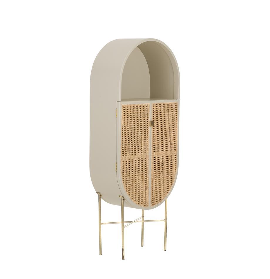 Schrank Retro Oval mit Wiener Geflecht, Korpus: Sungkai Holz, lackiert, Wiener Geflecht: Zuckerrohr, Hellgrau, 65 x 160 cm