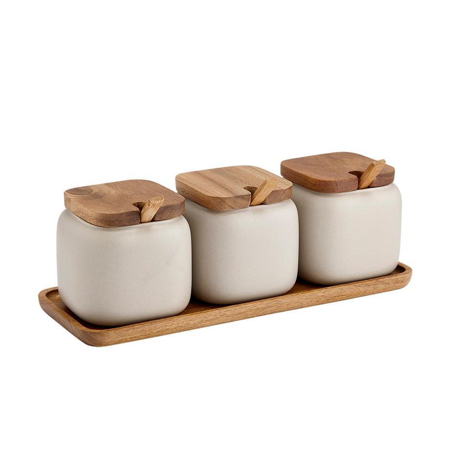 Komplet pojemników do przechowywania z porcelany i drewna akacjowego Essentials, 7 elem., Porcelana, drewno akacjowe, Odcienie piaskowego, drewno akacjowe, Komplet z różnymi rozmiarami