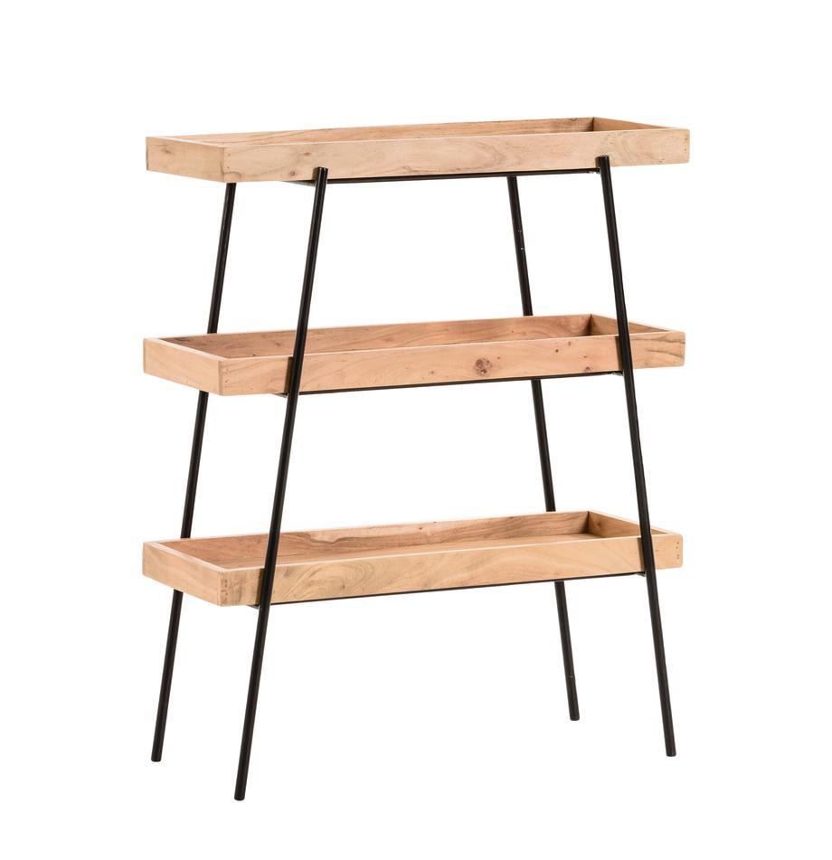 Scaffale basso in legno e metallo Basi, Struttura: metallo verniciato, Ripiani: legno d'acacia massiccio, Nero, marrone, Larg. 73 x Alt. 90 cm