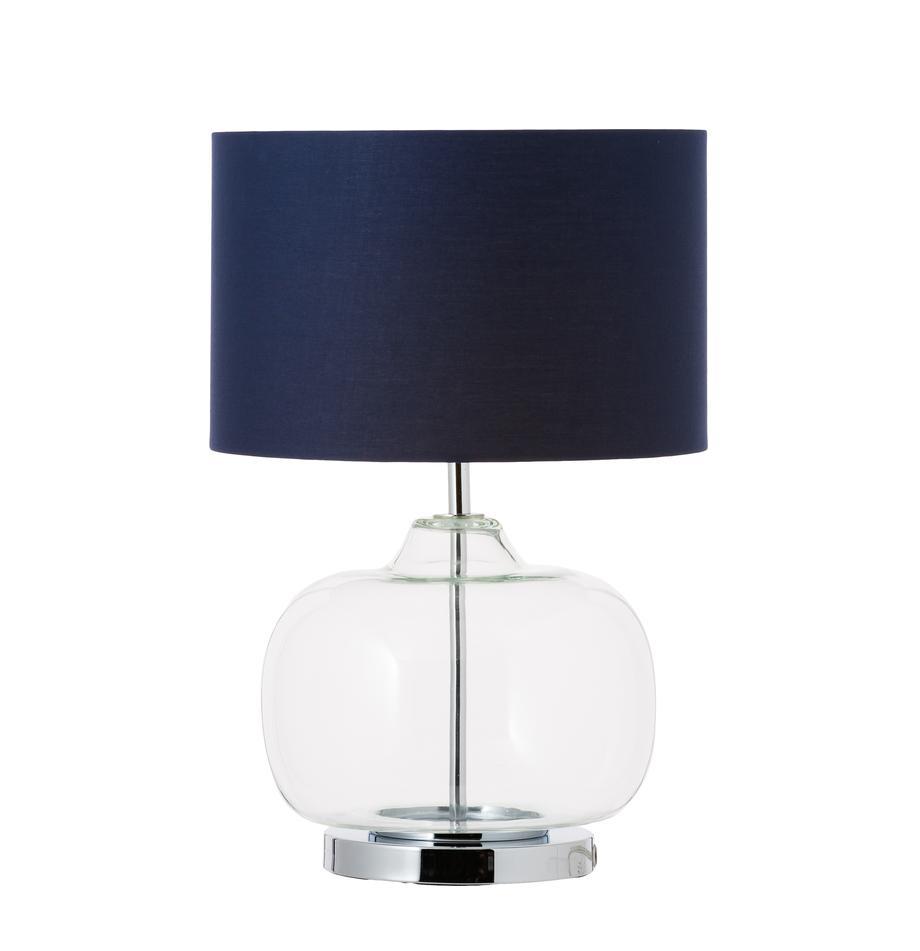 Tischlampe Amelia aus Glas und Baumwolle, Lampenschirm: Baumwolle, Sockel: Metall, verchromt, Dunkelblau, ∅ 28 x H 41 cm
