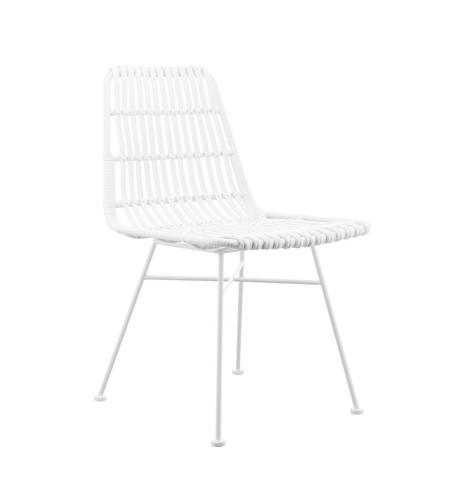 Polyrattan-Stühle Costa, 2 Stück, Sitzfläche: Polyethylen-Geflecht, Gestell: Metall, pulverbeschichtet, Sitzfläche: WeissGestell: Weiss, matt, B 47 x T 61 cm