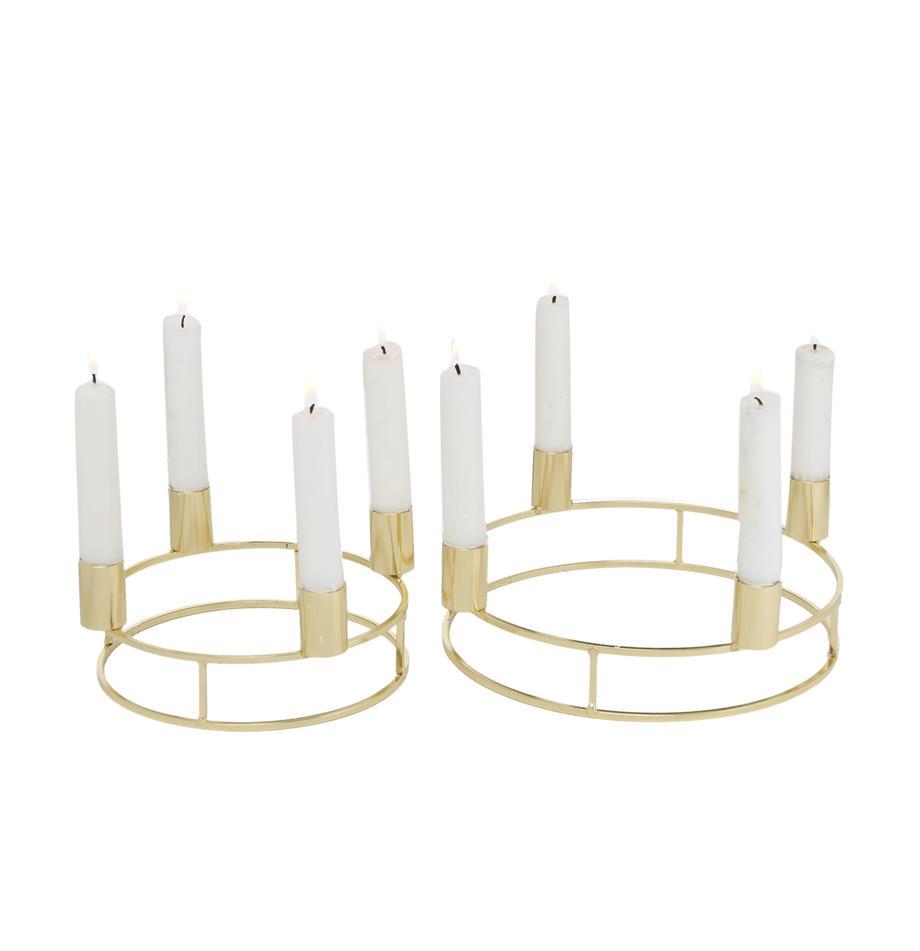 Kerzenhalter-Set Circlo, 2-tlg., Metall, pulverbeschichtet, Goldfarben, Set mit verschiedenen Grössen
