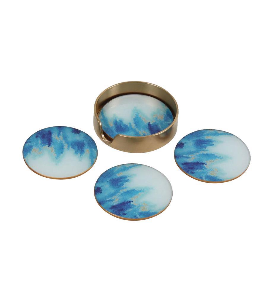 Set sottobicchieri Stardust 5 pz, Vetro, sughero, Blu, bianco, Ø 11 cm