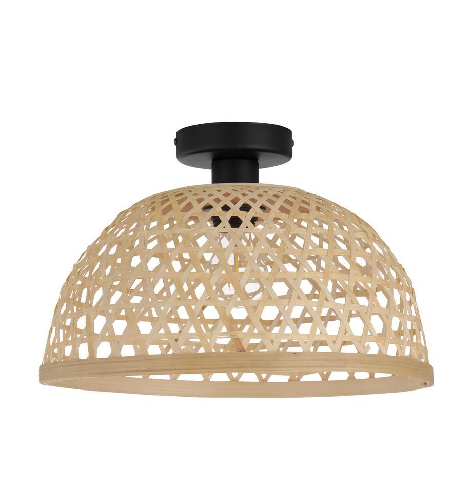Deckenleuchte Claverdon aus Bambus, Lampenschirm: Bambusholz, Baldachin: Metall, lackiert, Hellbraun, Ø 37 x H 25 cm