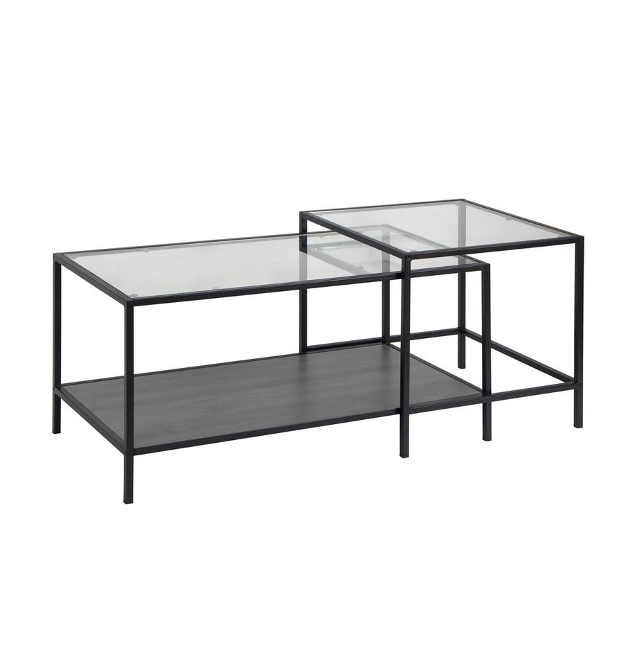 Set 2 tavolini da salotto con piano in vetro Seaford, Struttura: metallo, Nero trasparente, Larg. 90 x Prof. 55 cm