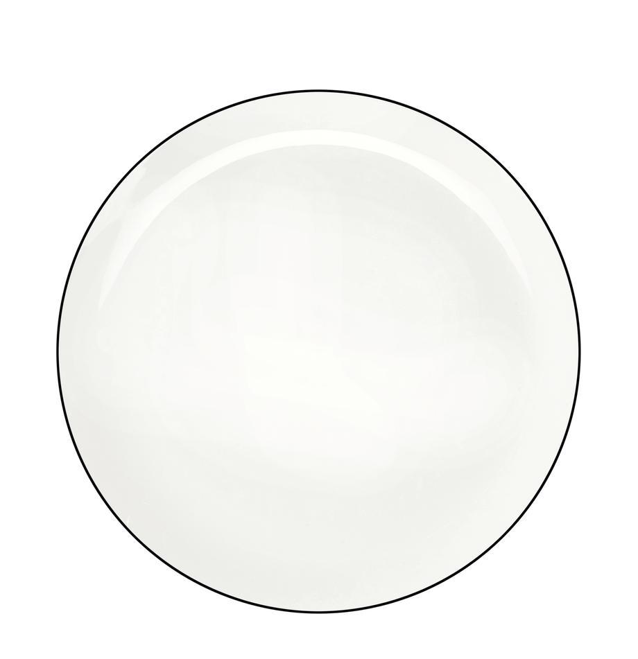 Talerz duży á table ligne noir, 4 szt., Porcelana chińska Porcelana chińska Fine Bone China to miękka porcelana wyróżniająca się wyjątkowym, półprzezroczystym połyskiem, Biały<br>Krawędź: czarny, Ø 27 cm