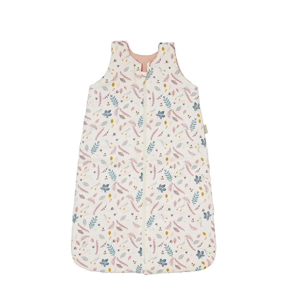 Śpiwór z bawełny organicznej Pressed Leaves, Tapicerka: bawełna organiczna, Kremowy, blady różowy, niebieski, szary, S 40 x D 65 cm
