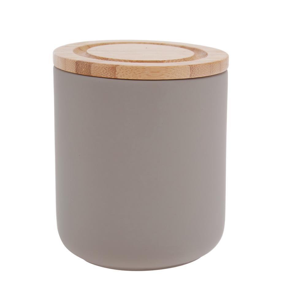 Pojemnik do przechowywania Stak, Szary kamienny, drewno bambusowe, Ø 10 x W 13 cm