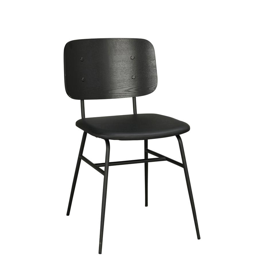 Krzesło z drewna Brent, Stelaż: metal lakierowany, Czarny, matowy, S 47 x G 57 cm
