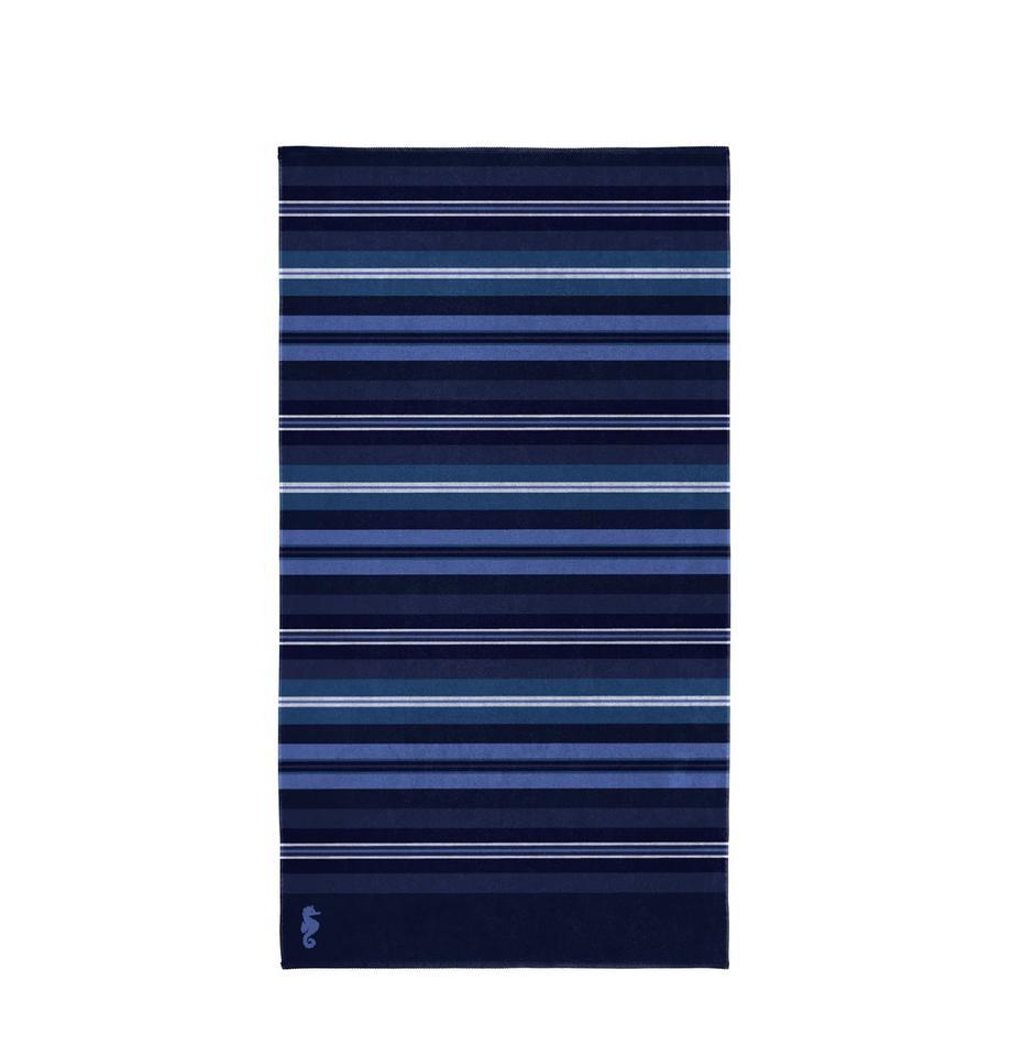 Telo mare a righe Hampton, Velour (cotone) Qualità del tessuto di peso medio, 420g/m², Toni blu, Larg. 100 x Lung. 180 cm