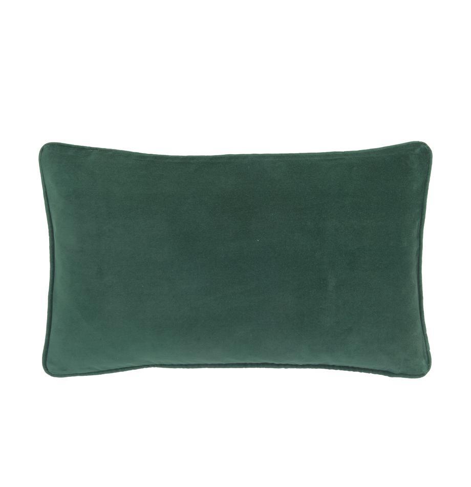 Funda de cojín de terciopelo Dana, 100%terciopelo de algodón, Verde esmeralda, An 30 x L 50 cm