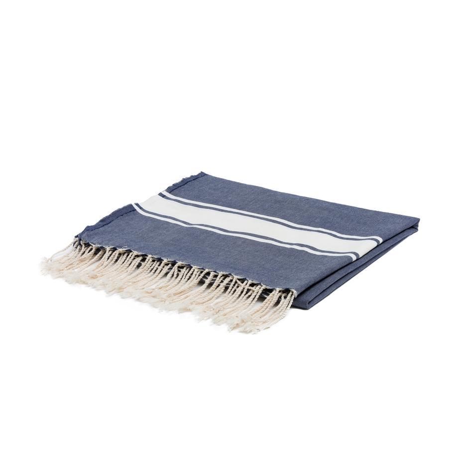 Obrus z bawełny z frędzlami St. Tropez, Bawełna, Jeansowy niebieski, biały, Dla 6-8 osób (S 150 x D 250 cm)