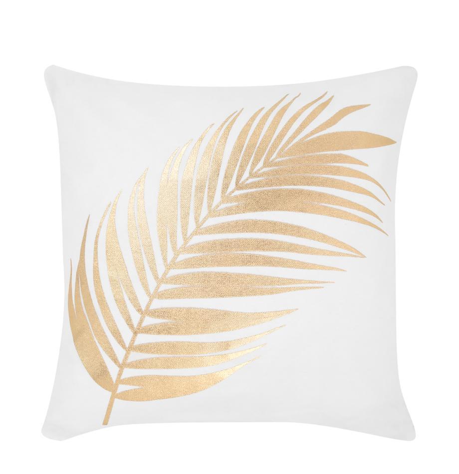 Federa arredo con stampa dorata Light, 100% cotone, Bianco, dorato, Larg. 40 x Lung. 40 cm