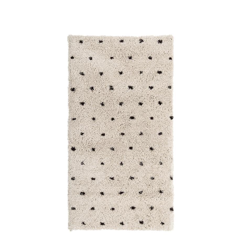 Alfombra artesanal Ayana, Parte superior: 100%poliéster, Reverso: 100%algodón, Beige, negro, An 80 x L 150  cm(Tamaño XS)