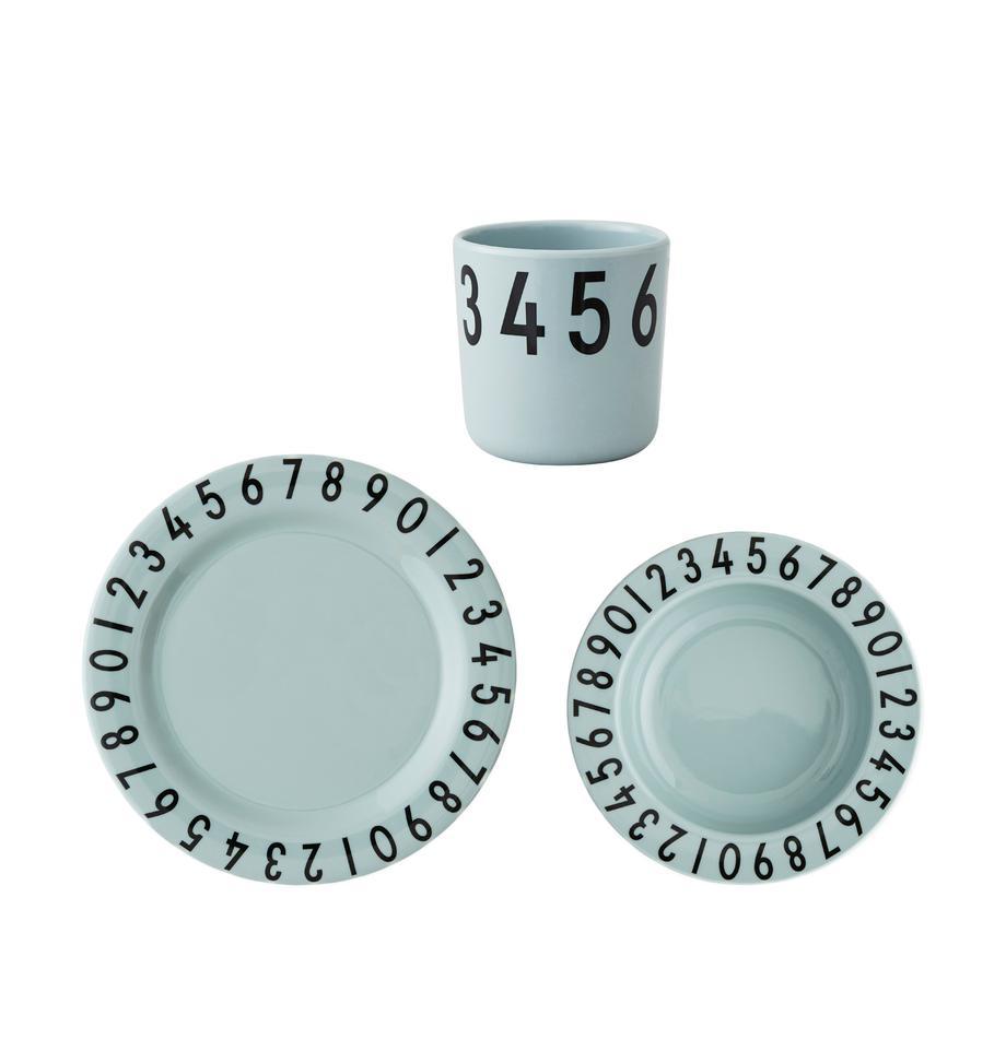 Set desayunos Numbers, 3pzas., Melamina, Azul, negro, An 21 x Al 7 cm