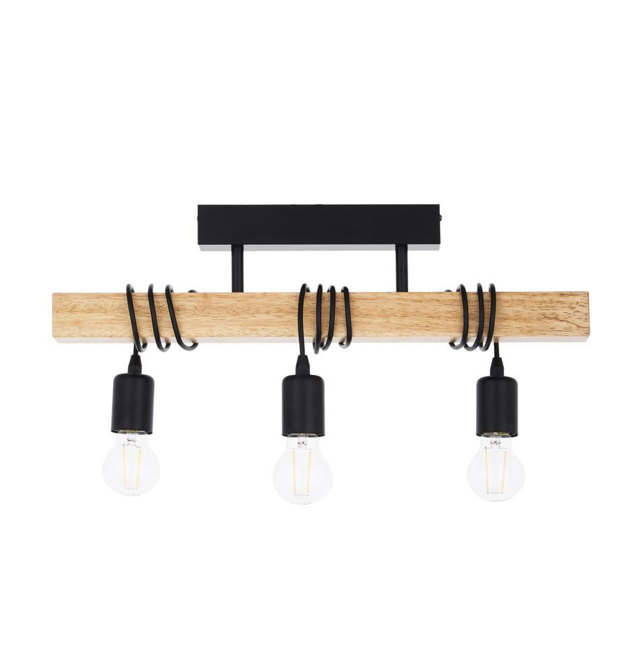 Deckenleuchte Townshend, Schwarz, Holz, 55 x 27 cm