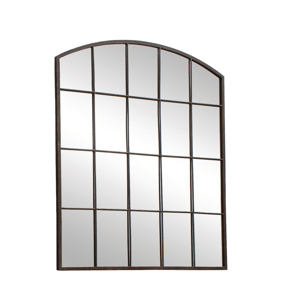 Metalen wandspiegel Rockford, Frame: gelakt metaal, Zwart, 91 x 76 cm