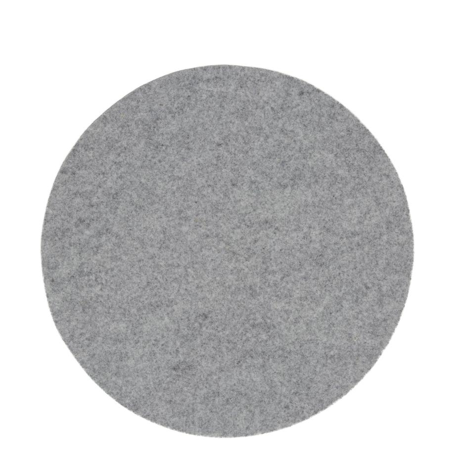 Ronde wolvilt placemats Leandra, 4 stuks, 90% wol, 10% polyethyleen, Lichtgrijs, Ø 40 cm