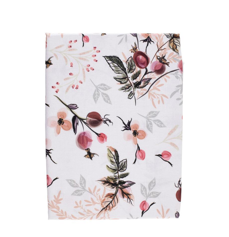 Baumwoll-Tischdecke Beas mit Blumen-/Blättermotiven, 100% Baumwolle, Rosa, Weiß, Grün, 160 x 160 cm
