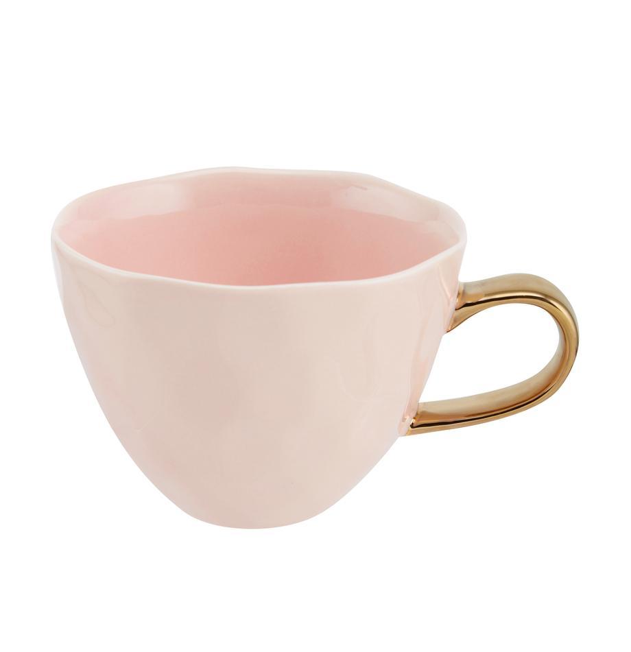 Tasse Good Morning in Rosa mit goldenem Griff, Steingut, Rosa, Goldfarben, Ø 11 x H 8 cm