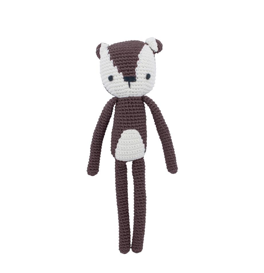 Kuscheltier Milo, Bezug: Baumwolle, Braun, Weiß, 4 x 27 cm