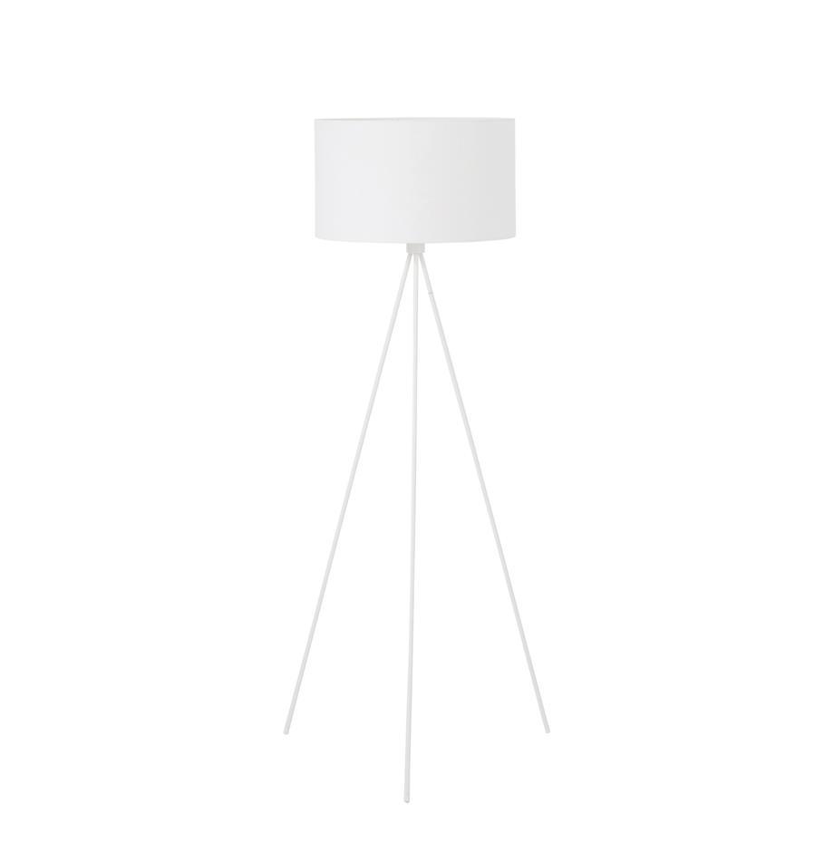 Tripod Stehlampe Cella mit Stoffschirm, Lampenschirm: Baumwollgemisch, Weiss, Ø 48 x H 158 cm