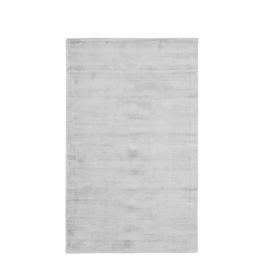 Handgewebter Viskoseteppich Jane in Silbergrau, Flor: 100% Viskose, Silbergrau, B 90 x L 150 cm (Grösse XS)