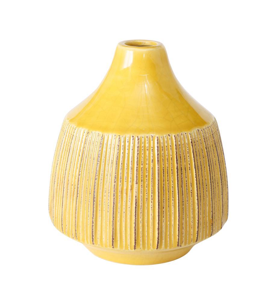 Mały wazon z kamionki Menos, Kamionka, Żółty, Ø 12 x W 14 cm