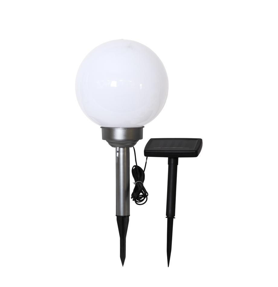 Solar Bodenleuchte Luna, Lampenschirm: Kunststoff, Opalweiß, Silberfarben, Ø 20 x H 37 cm