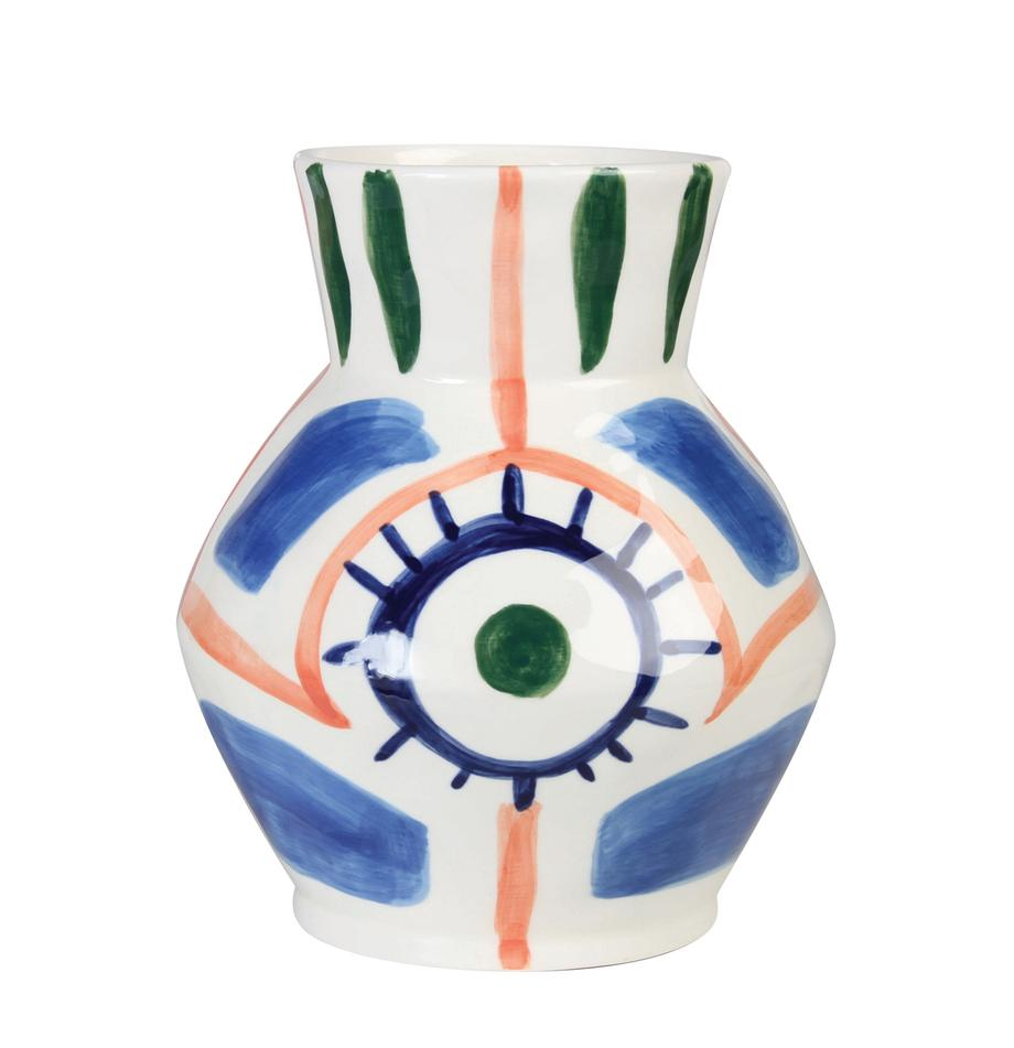 Jarrón artesanal de cerámica Baariq, Cerámica, Blanco, azul, naranja, verde, Ø 16 x Al 20 cm