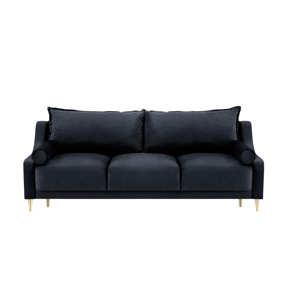 Sofa z aksamitu z funkcją spania i miejscem do przechowywania Lea (3-osobowa), Tapicerka: aksamit poliestrowy Dzięk, Nogi: metal malowany proszkowo, Ciemny niebieski, S 215 x G 94 cm