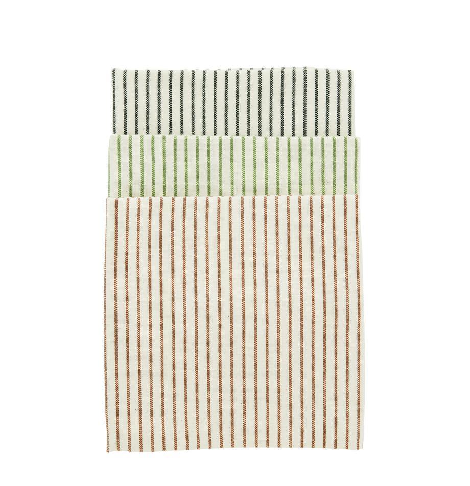 Komplet ręczników kuchennych Sienna, 3 elem., 100% bawełna, Ecru, czarny, zielony, brązowy, S 50 x D 70 cm