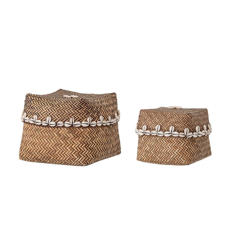 Opbergmandenset Lidia, 2-delig, Mand: bamboe, Decoratie: schelpen, Bruin, beige, Set met verschillende formaten