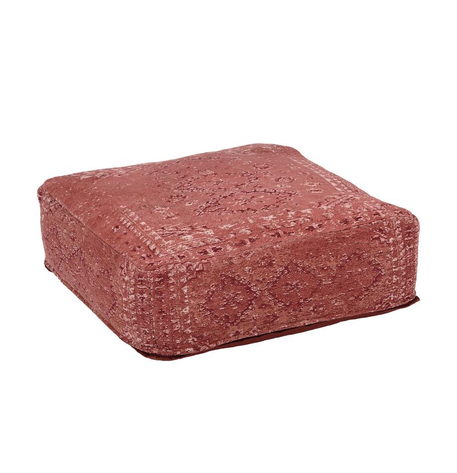 Vintage-Bodenkissen Rebel, Bezug: 95% Baumwolle, 5% Polyest, Rostrot, Creme, Rot, 70 x 26 cm
