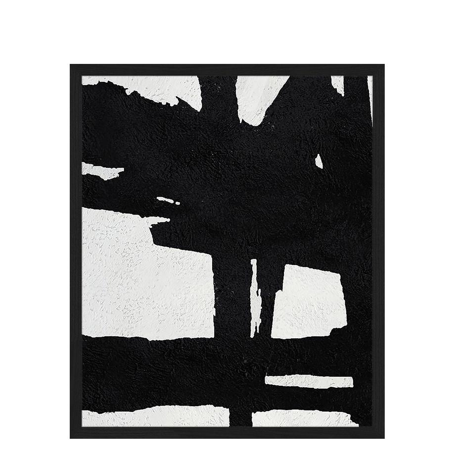 Impresión digital enmarcada Abstract Black, Negro, blanco, An 53 x Al 63 cm