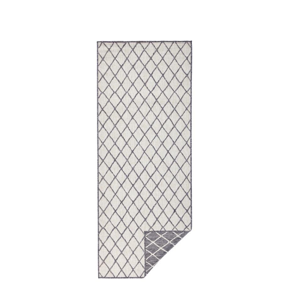 Dubbelzijdige in- & outdoor loper Malaga, Grijs, crèmekleurig, 80 x 250 cm