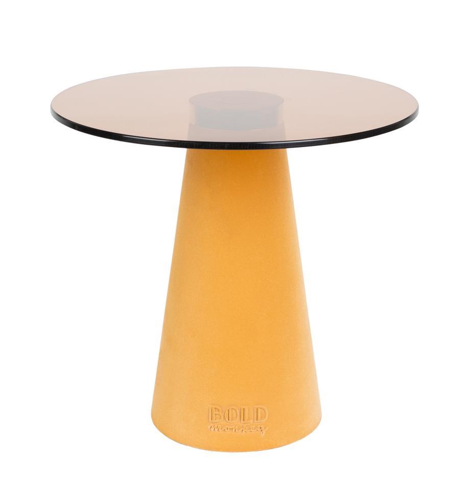 Tavolino con piano in vetro Leader Of The Fanclub, Piano d'appoggio: vetro temperato, Struttura: alluminio, verniciato, Giallo, Ø 40 x Alt. 39 cm